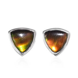 1.50 Ct Ammolite Solitaire Stud Earrings in Platinum Plated Sterling Silver