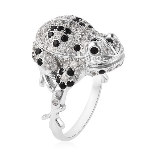 GP - Boi Ploi Black Spinel, Mozambique Garnet, Simulated Diamond and Blue Sapphire Ring in Rhodium Overlay Sterling Silver 3.39 Ct.
