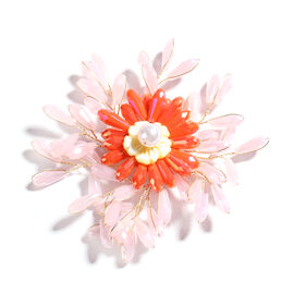 Simulated Rose Quartz, Simulated Orange Sapphire, Yellow Shell Pearl and Simulated Pearl Floral Broo