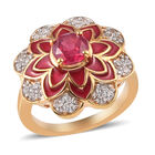 African Ruby and Natural Cambodian Zircon Enamelled Floral Ring (Size Q) in 14K Gold Overlay Sterling Silver