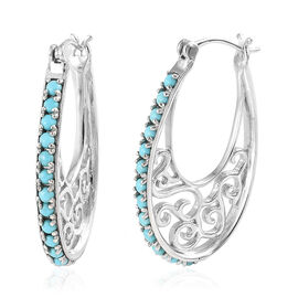 Arizona Sleeping Beauty Turquoise (Rnd) Hoop Earrings (with Clasp Lock) in 10.71gms Platinum Overlay Sterling Silver 1.500 Ct