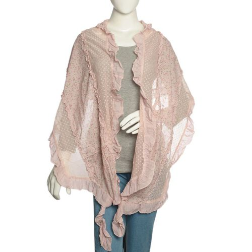 New Season 50% Cotton Peach, Pink and Multi Colour Floral Pattern Scarf with Hand Made Ruffle Border