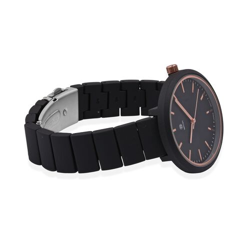 STRADA Japanese Movement Water Resistant Watch with Black Strap
