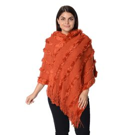 Knit Fluffy Stripe Pattern Hooded Poncho with Tassels (Size 85x85 Cm) - Orange