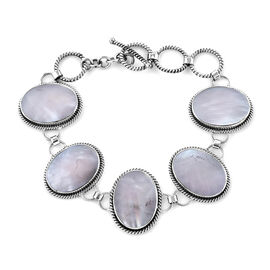 Royal Bali Collection - Mother of Pearl (Ovl 20x15 mm) Bracelet (Size 7/7.5/8) in Sterling Silver, S