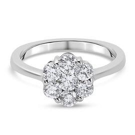 RHAPSODY 950 Platinum IGI Certified Natural Diamond (VS/E-F) Floral Cluster Ring 1.00 Ct,