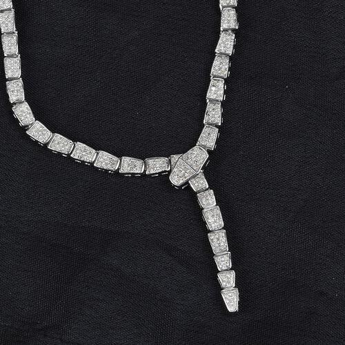 Diamond Serpent Necklace (Size 18) in Platinum Overlay Sterling Silver 1.50 Ct, Silver wt 12.00 Gms