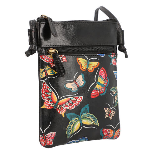 SUKRITI 100% Genuine Leather Traditional Hand Painted Butterfly Crossbody Bag (Size:15.75x19.81cm) with Shoulder Strap (135cm) - Black
