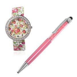 2 Piece Set STRADA Japanese Movement White Austrian Crystal Studded Flower Pattern Watch with Fuchsia Colour Pen