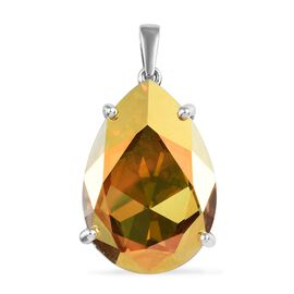 J Francis Metallic Light Gold Crystal from Swarovski Solitaire Pendant in Platinum Plated Silver