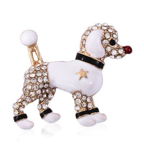 Black and White Austrian Crystal Enamelled Dog Brooch in Gold Tone