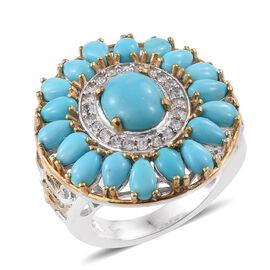Arizona Sleeping Beauty Turquoise (Ovl 1.50 Ct), Natural Cambodian Zircon Ring (Size T) in Platinum and Yello