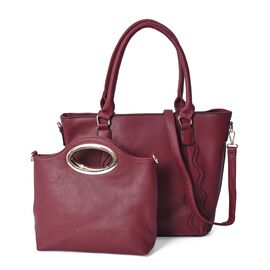 Set of 2 - Burgundy Colour Tote Bag with Detachable Shoulder Strap and Zipper Closure