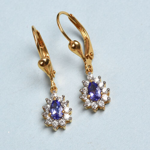 AAA Tanzanite and Natural Cambodian Zircon Lever Back Earrings in 14K Gold Overlay Sterling Silver 1.00 Ct.