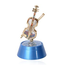 Blue and Gold Colour Violin Music Box with Multi Colour LED Light (Size 20x11 Cm)