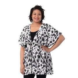Leopard Pattern Kaftan with Waist Belt in Black and White (Size 90x90cm)  CB 35in