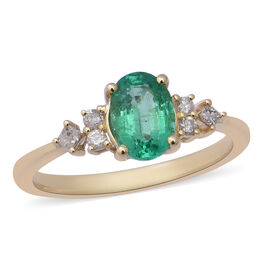Super Auction - 9K Yellow Gold AAA Zambian Emerald (Oval 8X6mm) and Diamond (I3/G-H) Ring 1.37 Ct.