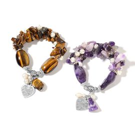 Set of 2- Tigers Eye, Fresh Water Pearl, Amethyst, Simulated White Pearl and Multi Colour Beads Strechable Bracelet (Size 7.50)  with Charm in Silver Plated