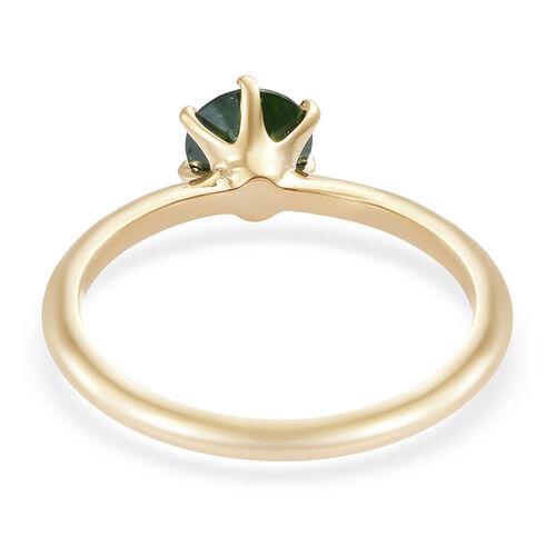 9K Yellow Gold SGL Certified Green Diamond (Rnd 5.5mm) Ring 0.600 Ct.