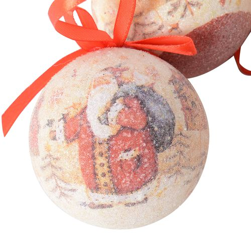 Set of 14 Home Decor Christmas Decoration Baubles and Red Ribbon (Size 7.5 Cm) Multi Colour - Tree