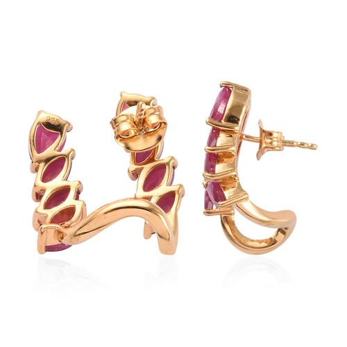 AA African Ruby Stud Earrings (with Push Back) in 14K Gold Overlay Sterling Silver 3.94 Ct, Silver wt 5.77 Gms
