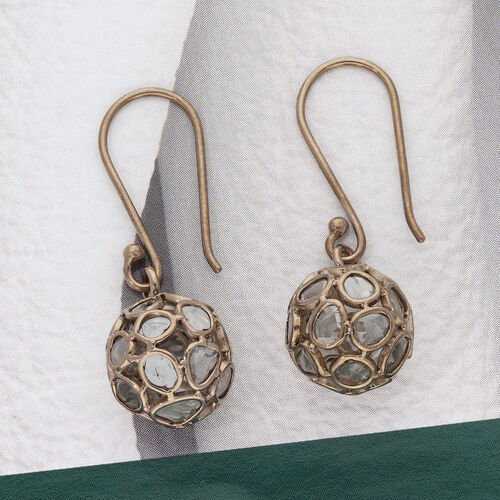 Artisan Crafted Champagne Polki Diamond Dangle Hook Earrings (with Push Back) in Rose Gold Overlay Sterling Silver 2.50 Ct.