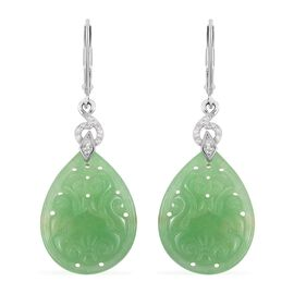 Carved Green Jade, Natural Cambodian White Zircon Lever Back Drop Earrings in Rhodium Overlay Sterling Silver 25.715 Ct.