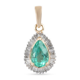9K Yellow Gold  Colombian Emerald, White Diamond Main Stone With Side Stone Pendant in Rhodium Overl