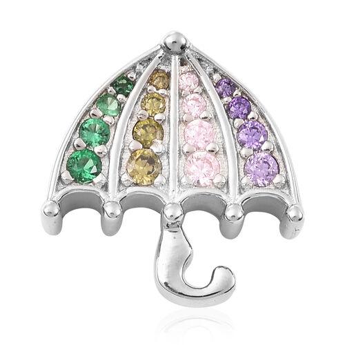 Simulated Multi Colour Gemstone Umbrella Pendant in Rhodium Overlay Sterling Silver