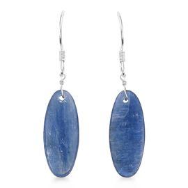 One Time Deal- Moon Kyanite (Ovl) Hook Earrings in Rhodium Overlay Sterling Silver 15.980 Ct.