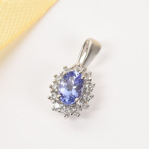 9K White Gold Tanzanite and Natural Cambodian Zircon Halo Pendant