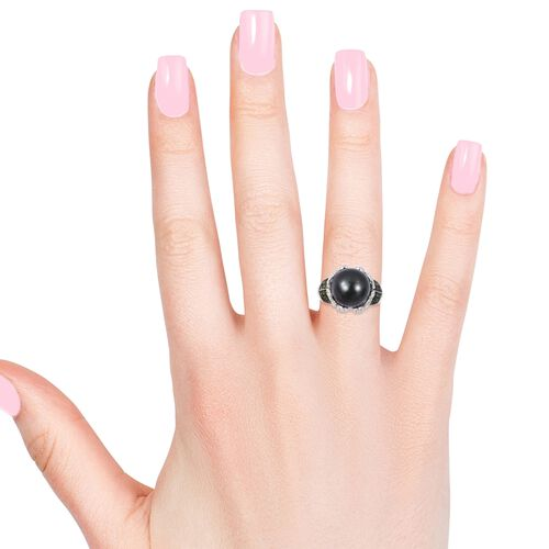 Collectors Edition- Tahitian Pearl (Rnd 11-12mm), Russian Diopside and Natural White Cambodian Zircon Ring in Rhodium and Black Plating Sterling Silver (Gemstone Ct Wt 1.50 Carats)