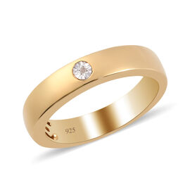 Diamond Band Ring (Size S) in 14K Yellow Gold Overlay Sterling Silver 0.02 Ct.