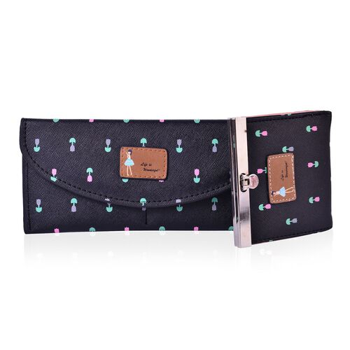 Set of 2 - Multi Colour Floral Pattern Black Colour Long Wallet with External Zipper Pocket (Size 20x9 Cm) and Small Wallet (Size 9.5x9 Cm)
