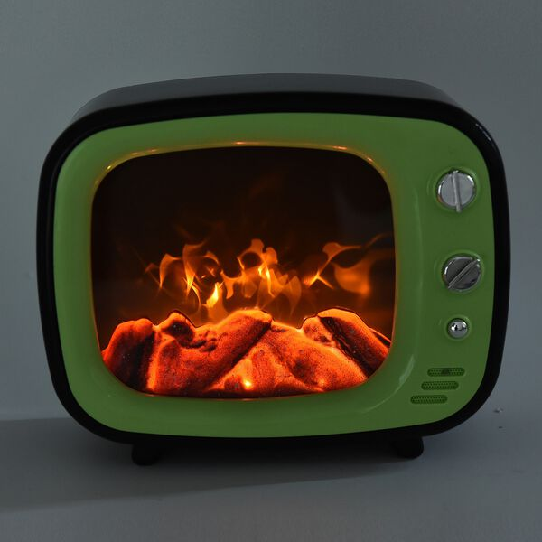 LED TV Fireplace Lamp with USB Cable (Size 26x20x10 Cm) - Green Colour (3xC Battery not Included)