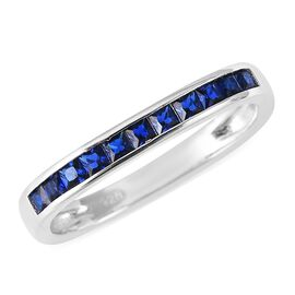 ELANZA Simulated Blue Sapphire Half Eternity Band Ring in Rhodium Plated Sterling Silver