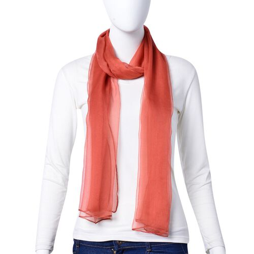 One Time Deal - 100% Mulberry Silk Flame Red Colour Scarf (Size 170x70Cm)