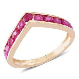 9K Yellow Gold AAA Burmese Ruby (Rnd) Wishbone Ring 1.250 Ct.