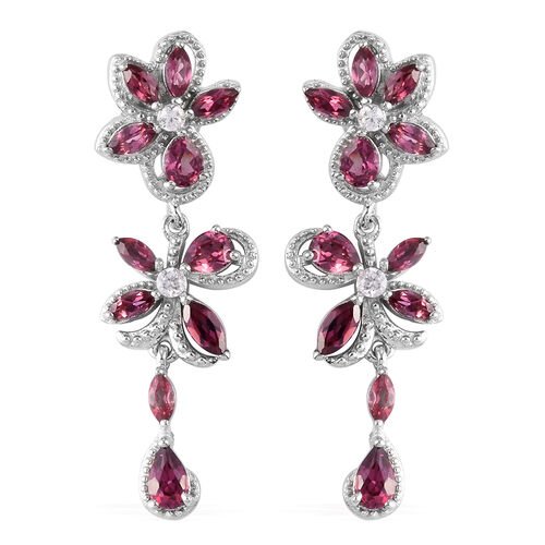 Orissa Rose Garnet and Natural Cambodian Zircon Dangle Earrings (with Push Back) in Platinum Overlay
