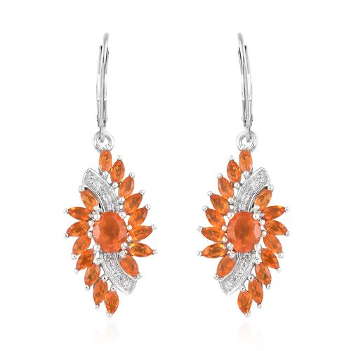 WEBEX- Jalisco Fire Opal (Ovl), Natural Cambodian Zircon Earrings in Platinum Overlay Sterling Silver 2.500 Ct, Silver wt 5.56 Gms.