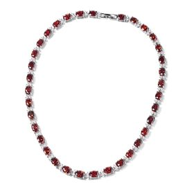 Simulated Ruby and Simulated White Diamond Tennis Necklace in Silver Tone 16 Inch