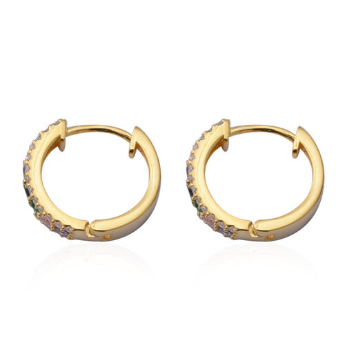 ELANZA Simulated Rainbow Sapphire (Rnd), Simulated Diamond Hoop Earrings (with Clasp Lock) in Yellow Gold Overlay Sterling Silver