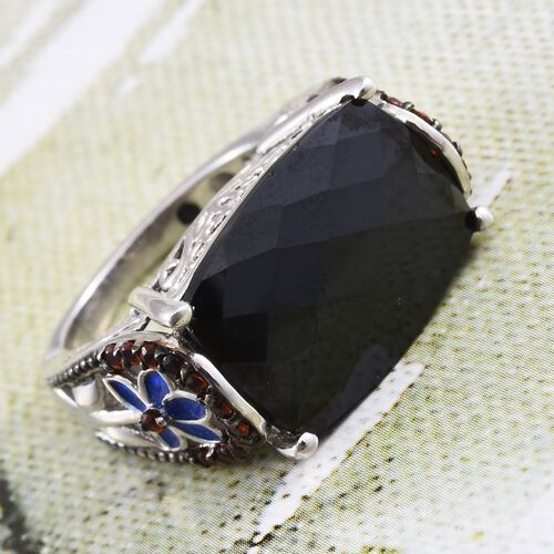 GP Boi Ploi Black Spinel (Cush), Mozambique Garnet and Kanchanaburi Blue Sapphire Ring in Platinum Overlay Sterling Silver 16.500 Ct.