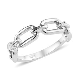 Platinum Overlay Sterling Silver Link Chain Ring