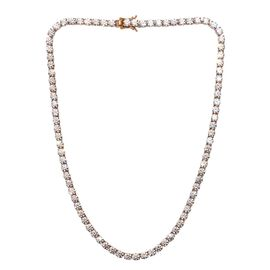 J Francis 14K Gold Overlay Sterling Silver (Rnd) Necklace (Size 18) Made with SWAROVSKI ZIRCONIA, Si