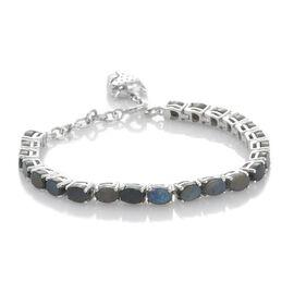 Natural Spectrolite (Ovl) Bracelet (Size 7.75) in Platinum Overlay Sterling Silver 9.000 Ct. Silver