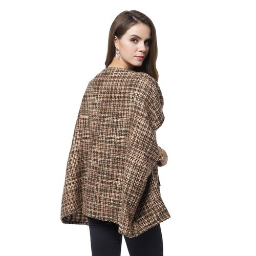 Italian Designer Off The Shoulder Chocolate, Yellow and Black Colour Checks Pattern Winter Poncho with Pocket (Size 70X65 Cm)