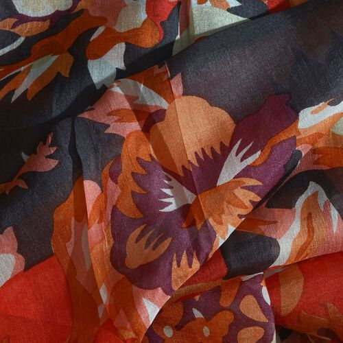 100% Mulberry Silk Orange, Black and Multi Colour Handscreen Floral Printed Scarf (Size 200X170 Cm)