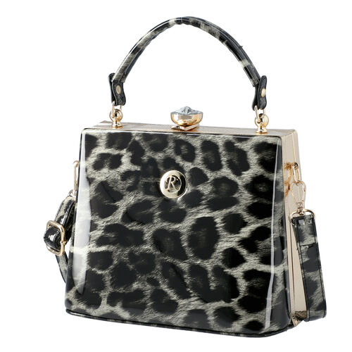 BOUTIQUE COLLECTION Leopard Pattern Shoulder Bag with Detachable and Adjustable Strap (Size 22x14x18 Cm) - Grey