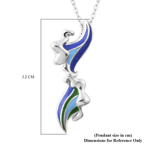 Isabella Liu Embrace Scar Collection - Rhodium Overlay Sterling Silver Enamelled Pendant with Chain (Size 30)